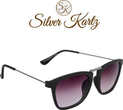Silver Kartz Luxury Gun-Metal Thin-Temple Wayfarer, Rectangular Sunglasses