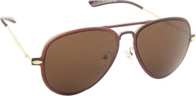 Farenheit 1230-C2 Aviator Sunglasses(Brown)
