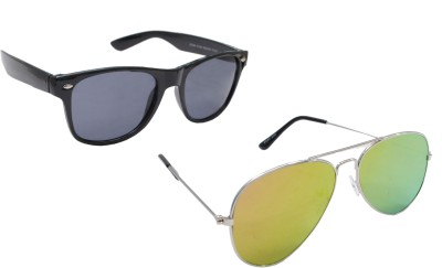 Sellebrity Elegant Combo Silver Aviator With Wayfare Black Sunglasses Aviator Sunglasses