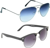Zyaden COM90 Aviator, Oval Sunglasses(Blue, Violet)