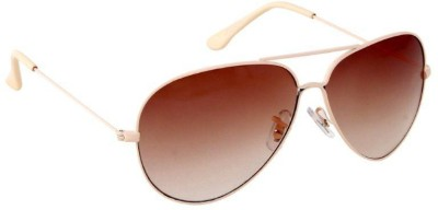 Gansta Gansta ZE-1005 Cream aviator sunglass Aviator Sunglasses(Brown)