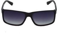 Red Knot MP109-PBLK-SLV-PBLK-BLK-55 Rectangular Sunglasses(Black)