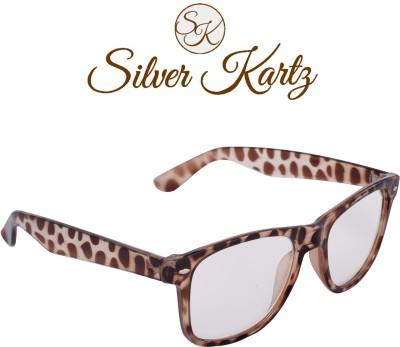 Silver Kartz Brown Clear Lens Wayfarer, Rectangular Sunglasses
