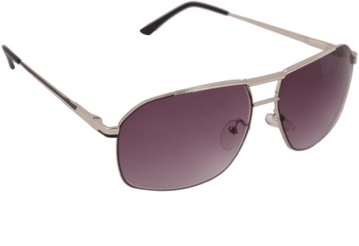 Gansta Gansta RS-1004 Silver & black aviator sunglass Rectangular Sunglasses(Grey)