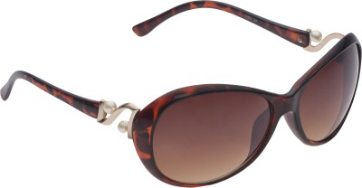 Vast UVProtection Womens Designer Oval Sunglasses(Brown)