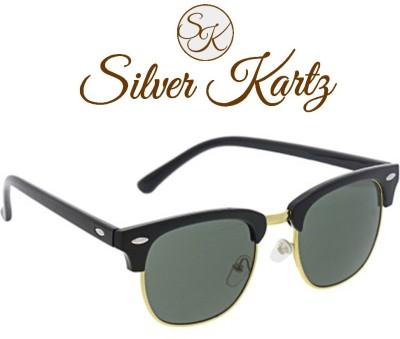 Silver Kartz Clubmaster Gold Classic Wayfarer Sunglasses