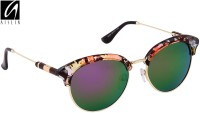 Aislin AS-9006-7-LFPRGR178 Round Sunglasses(Violet, Green)