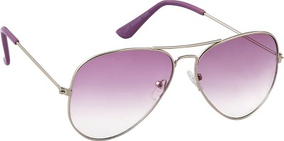 Feel Sunglasses Unisex Medium-58 Full Metal Silver Frame Purple Plastic Lens 100% UV Protected Aviator Sunglasses