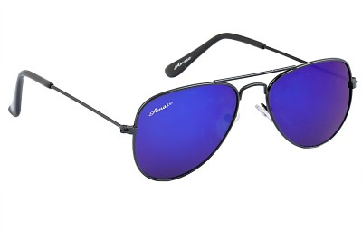 Amaze Kids Blue Mirrored Lens With Black Frame Aviator Sunglasses