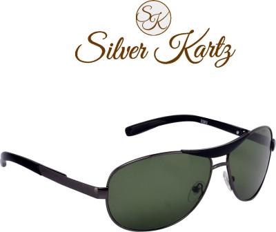 Silver Kartz Luxury Gun-Metal Crown Wayfarer, Rectangular, Wrap-around Sunglasses