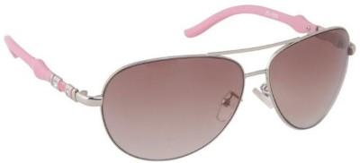Gansta Gansta ZE-1009 Silver Pink aviator sunglass Aviator Sunglasses(Brown)