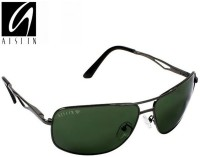Aislin AS-3481DH-5-GUN Rectangular, Aviator Sunglasses(Green)