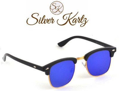 Silver Kartz Luxury Blue Mercury Clubmaster Wayfarer, Rectangular Sunglasses