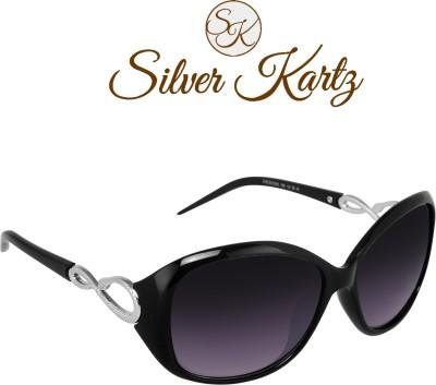 Silver Kartz Gun-Metal Matrix Wayfarer, Rectangular, Wrap-around Sunglasses