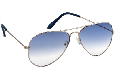Feel Sunglasses Unisex Medium-58 Full Metal Silver Frame Blue Plastic Lens 100% UV Protected Aviator Sunglasses