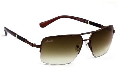 Amaze Brown Gradiant Medium Rectangular Sunglasses