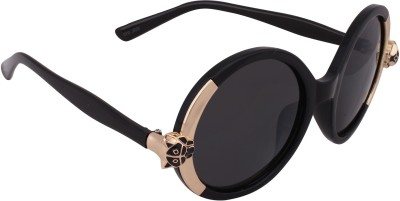 Qwerty Black And Golden Lion For Women Round Sunglasses