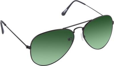 Gansta Gansta GN-3002 black aviator sunglass with gradient green lens Aviator Sunglasses(Green)