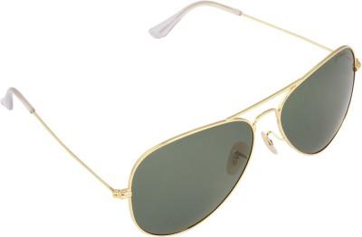 PANACHE Thin Wire Golden Frame-Green B2 Polarised Lens Aviator Sunglasses