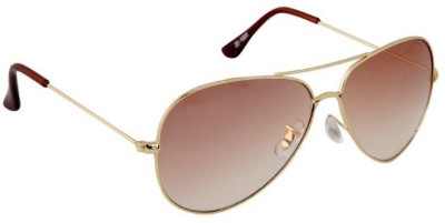 Gansta Gansta ZE-1005 Gold aviator sunglass Aviator Sunglasses(Brown)