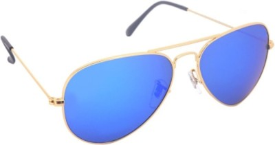 Agera Golden frame with blue mirror lenses Aviator Sunglasses