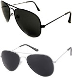 Barbarik az01 Aviator Sunglasses (Black,...