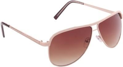 Gansta Gansta GN-11040 Golden Aviator Sunglass Aviator Sunglasses(Brown)