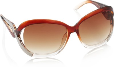 Gio Collection SH13037-1356 brown P12315 Over-sized Sunglasses(Brown) at flipkart