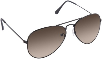 Agera Agera AG1001 black with brown lens aviator sunglass Aviator Sunglasses(Brown)