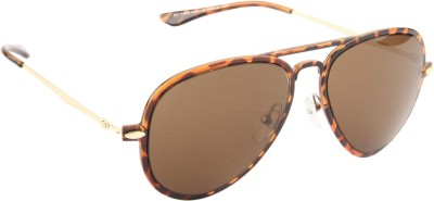 Farenheit 1230-C13 Aviator Sunglasses(Brown)