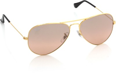 Ray-Ban 0RB3025I 001/3E Aviator Sunglasses(Pink, Brown)