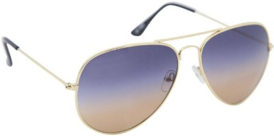 Gansta Gansta ZE-1025 Classic gold aviator shades with dual tone gradient lens Aviator Sunglasses(Multicolor)