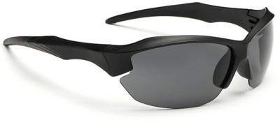 Ediotics UV Protected Black Wrap Around Unisex (Sporty | Premium)(ED_SP_HALF_RIM|60|Black) Wrap-around Sunglasses(Black)