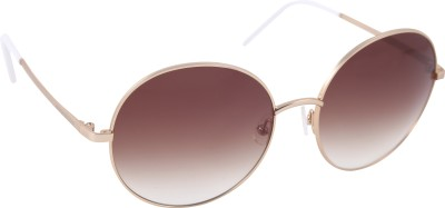 Mango Pickles RO-5012-Gold-White Round Sunglasses(Brown)