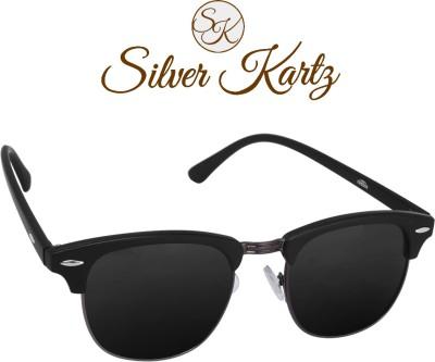 Silver Kartz Gun-Metal Clubmaster Wayfarer Sunglasses