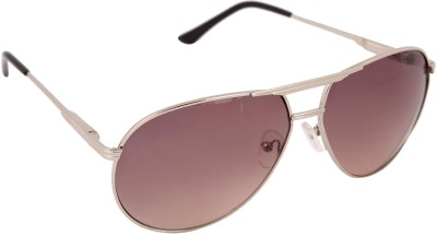 Gansta Gansta RS-1001 Sil with Brown lens aviator sunglass Aviator Sunglasses(Brown)
