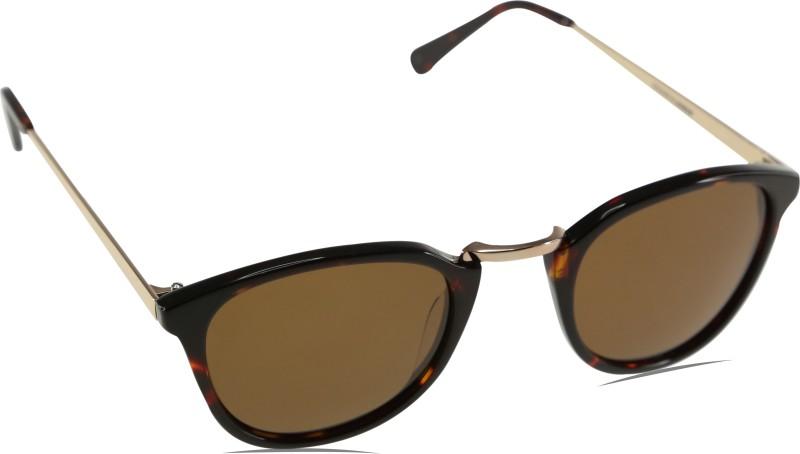 Mango Pickles R-2034-Black-Demi Oval Sunglasses(Brown)