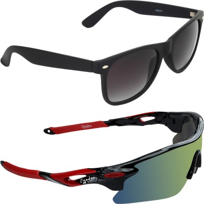 Zyaden COM398 Sports, Wayfarer Sunglasses(Multicolor, Black)