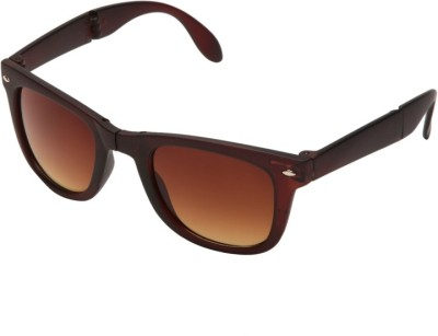 ABAZY brown foldable pocket Wayfarer Sunglasses