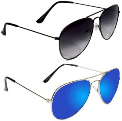 Epic Ink com2161 Aviator Sunglasses(Black, Blue)