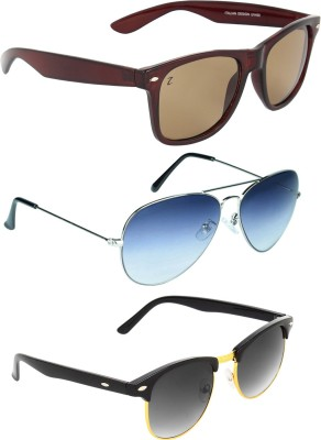 Zyaden Combo Pack Wayfarer, Aviator, Round Sunglasses