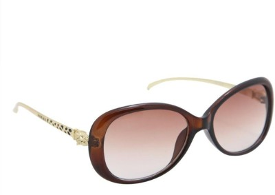 Gansta Gansta ZE-1033 Brown oval sunglass with decorative temple Over-sized Sunglasses(Brown)