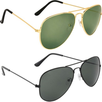 Zyaden COM528 Aviator Sunglasses(Black, Green)