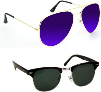 Epic Ink sg5488 Aviator, Round Sunglasses(Violet, Black)