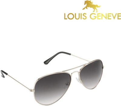 Louis Geneve Silver Frame with Grey Shade Lens Aviator Sunglasses