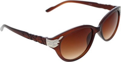 Vast WOMENS _99189_LEAF_CATEYE_BROWN_GLARES Wayfarer Sunglasses(Brown)