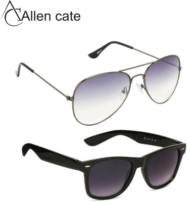 Allen Cate Combo of Black Dual Shade & Grey Aviator Sunglasses