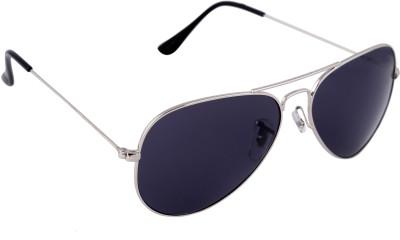 Gansta Gansta NXT-MH-1001 Silver with Grey Polarised lens aviator sunglass Aviator Sunglasses(Blue)