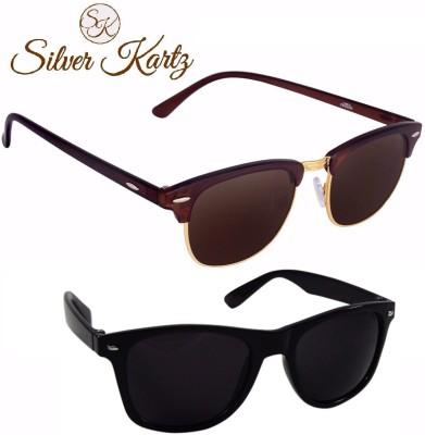 Silver Kartz Luxury Clubmaster Wayfarer Combo Wayfarer Sunglasses