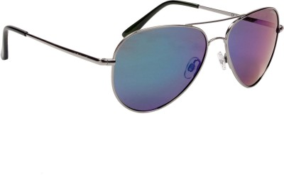 Polaroid P4139B N5YK7 Aviator Sunglasses(Grey, Blue)